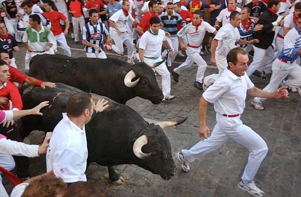 Pamplona running of the bulls Festival spain