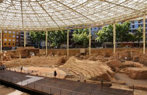 the Roman ruins of the Teatro Romano in Zaragoza